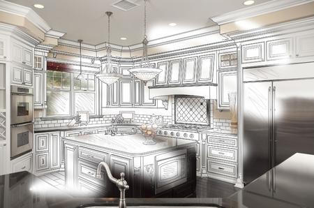 美しいカスタム キッチン設計図面と写真の組み合わせ。