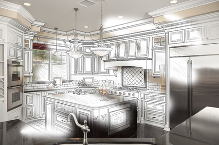 the example: Beautiful Custom Kitchen Design Drawing and Photo Combination.