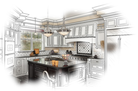 custom home: Beautiful Custom Kitchen Design Drawing and Photo Combination.