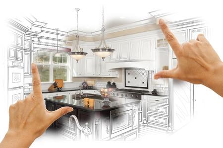 Female Hands Framing Custom Kitchen Design Disegno e Foto Combination. Archivio Fotografico - 36674332