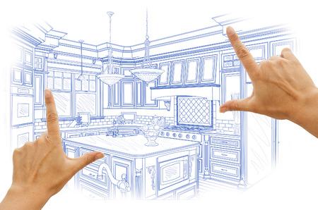 kitchen design: Female Hands Framing Blue Custom Kitchen Design Drawing.