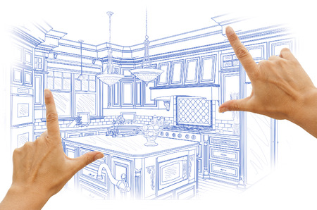 Vrouwelijke Handen Framing Blue Custom Keuken Design Tekening.