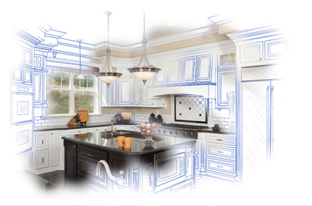 Beautiful Custom Kitchen Blue Design Drawing and Photo Combination. Stock Photo