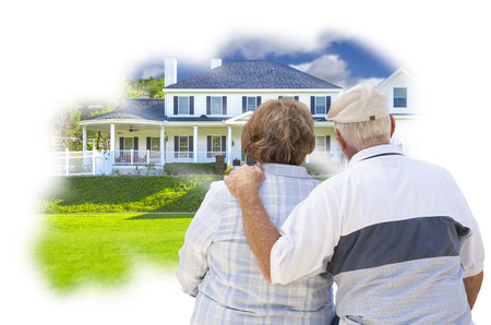selling house: Daydreaming Senior Couple Over Custom Home Photo Inside Thought Bubble.