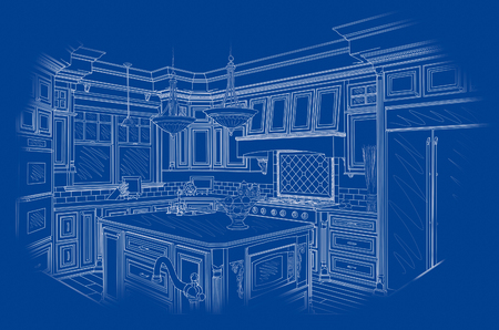 interior layout: Beautiful Custom Kitchen Design Drawing in White On Blue Background.
