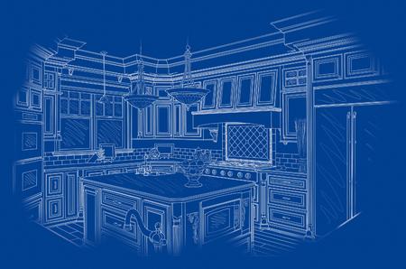 cocinas industriales: Hermosa cocina de dise�o personalizado de dibujo en blanco sobre fondo azul. Foto de archivo