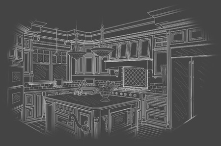 architect drawing: Beautiful Custom Kitchen Design Drawing in White On Grey Background.
