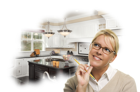 redesign: Daydreaming Woman With Pencil Over Custom Kitchen Photo in Thought Bubble.