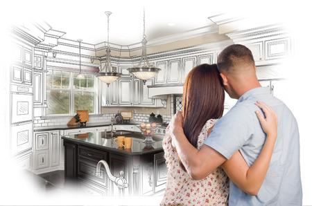 Jonge Militaire Paar dat binnen Custom Keuken en Design Drawing Combinatie.