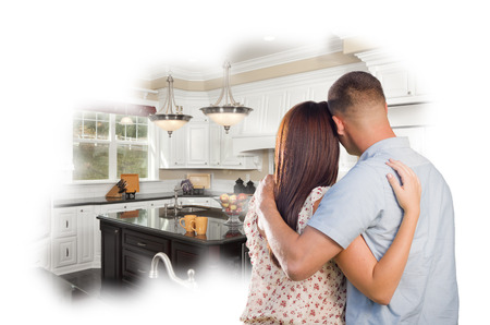 selling house: Daydreaming Young Military Couple Over Custom Kitchen Photo Inside Thought Bubble.