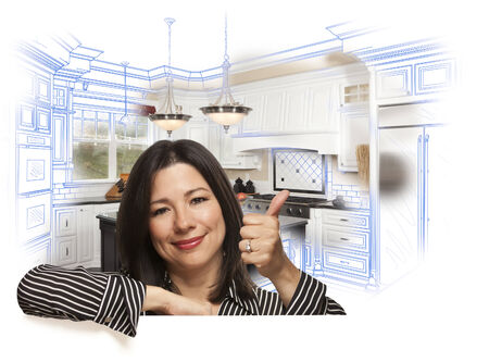 homes for sale: Happy Hispanic Woman with Thumbs Up and Custom Kitchen Drawing and Photo Behind on White.