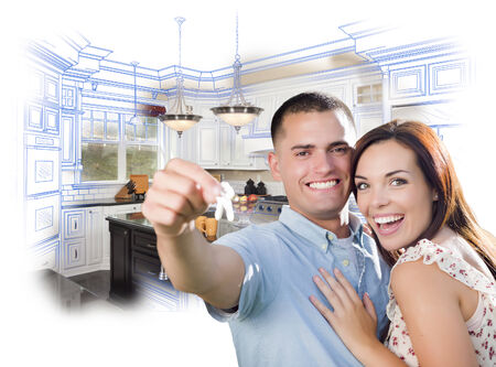 happy couple house: Young Happy Military Couple with New House Keys Over Kitchen Drawing and Photo Combination. Stock Photo