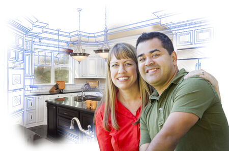 mixed race girl: Happy Mixed Race Couple Over Kitchen Design Drawing and Photo Combination on White. Stock Photo