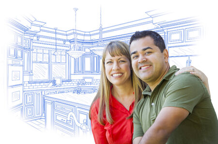 mixed race girl: Happy Mixed Race Couple Over Custom Kitchen Design Drawing on White.