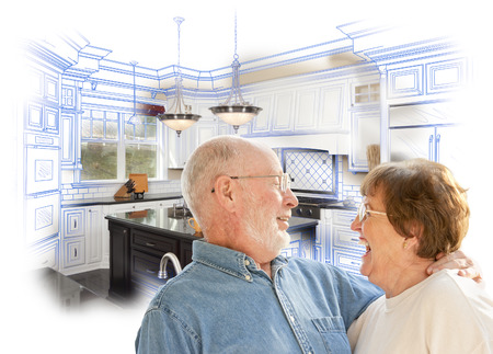 Happy Laughing Senior Couple Over Kitchen Design Drawing and Photo Combination on White. Stock Photo