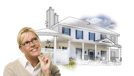 home owner: Woman with Pencil Over House Drawing and Photo Combination on White.