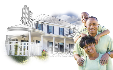 family playing: Happy African American Family Over House Drawing and Photo Combination on White.