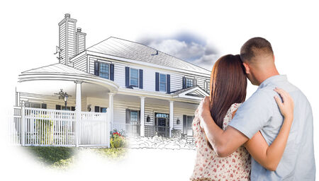 real estate people: Military Couple Looking At House Drawing and Photo Combination on White.