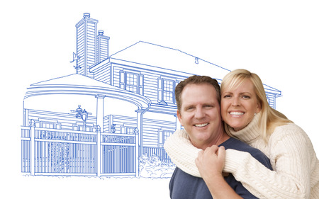 happy couple house: Happy Hugging Couple Over House Drawing on White.