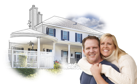 home owner: Happy Hugging Couple Over House Drawing and Photo Combination on White. Stock Photo