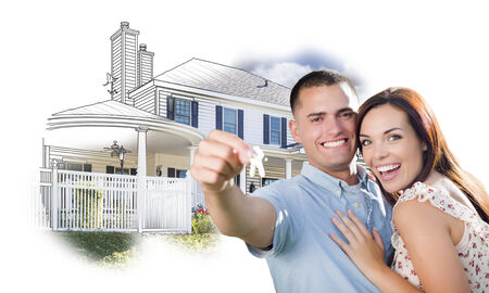 mixed race girl: Military Couple with Keys Over House Drawing and Photo Combination on White. Stock Photo
