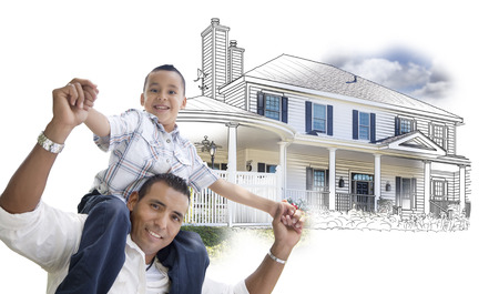 family shopping: Hispanic Father and Son Over House Drawing and Photo Combination on White.
