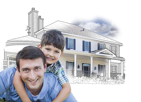 front or back yard: Father and Son Over House Drawing and Photo Combination on White.