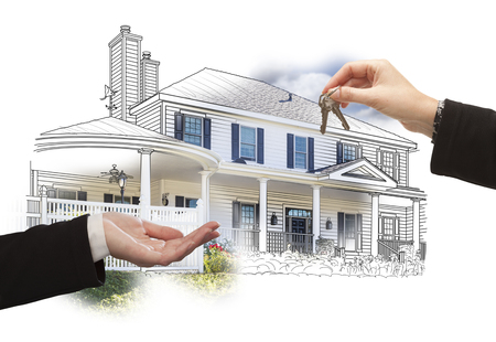 buy house: Handing Over Keys On House Drawing and Photo Combination on White. Stock Photo