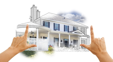 depiction: Hands Framing House Drawing and Photo Combination on White. Stock Photo