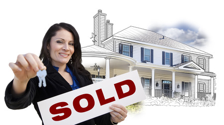 homebuyer: Hispanic Woman Holding Keys and Sold Sign Over House Drawing and Photo Combination on White.