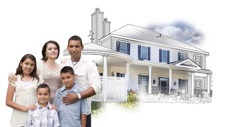 Young Hispanic Family Over House Drawing and Photo Combination on White. Stock Photo