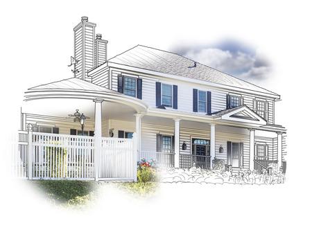 Custom House Tekenen en Photo Combinatie op een witte achtergrond. Stockfoto