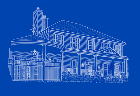 housing project: Custom White House Drawing on Blue Background. Stock Photo