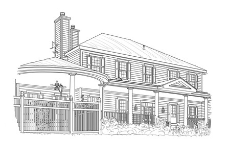 Custom Black House Drawing on White Background.