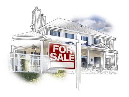 house for sale: Custom House and For Sale Real Estate Sign Drawing and Photo Combination on White.
