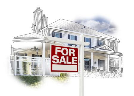 Custom House en voor verkoop onroerend goed teken Tekenen en Photo Combinatie op Wit.