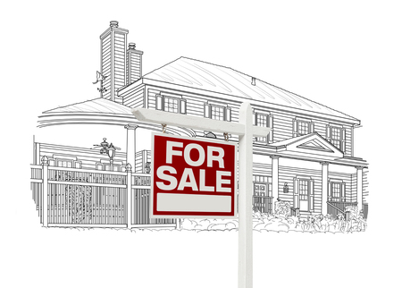 house for sale: Custom House and For Sale Real Estate Sign Drawing on White Background.