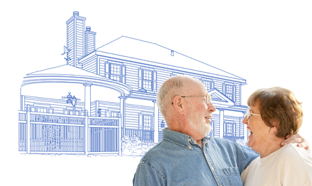 Happy Senior Couple Over House Drawing on White Background. Stock Photo