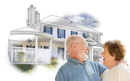happy couple house: Happy Senior Couple Over House Drawing and Photo Combination on White.
