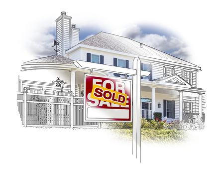 homes for sale: Custom House and Sold Real Estate Sign Drawing and Photo Combination on White.