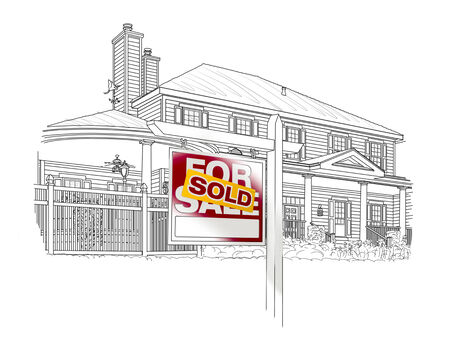 homes for sale: Custom House and Sold Real Estate Sign Drawing on White Background.