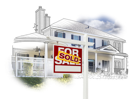 for example: Custom House and Sold Real Estate Sign Drawing and Photo Combination on White.
