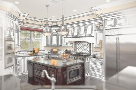 cocinas industriales: Combinación de Hermosa cocina de diseño personalizado Dibujo con Ghosted Foto Atrás. Foto de archivo