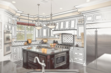 renovation property: Combination of Beautiful Custom Kitchen Design Drawing with Ghosted Photo Behind. Stock Photo