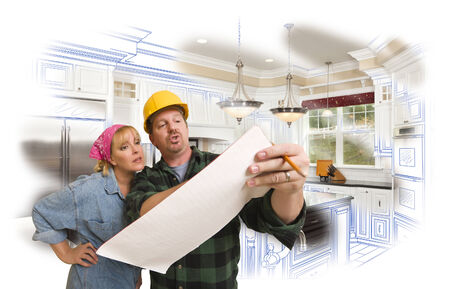 discussing: Male Contractor in Hard Hat Discussing Plans with Woman, Kitchen Drawing Photo Combination Behind. Stock Photo
