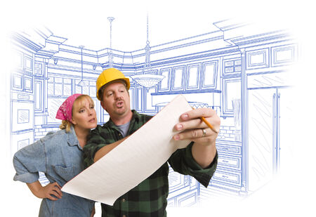 discussing: Male Contractor in Hard Hat Discussing Plans with Woman, Kitchen Drawing Behind.