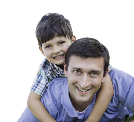 piggyback: Happy Father and Son Playing Piggyback Isolated on White. Stock Photo