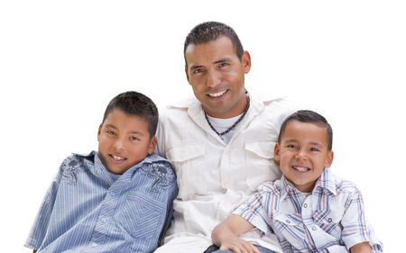 Handsome Hispanic Father and Sons Isolated on a White Background.