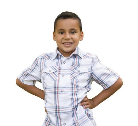 niños latinos: Apuesto joven hispana muchacho aislado en un fondo blanco.