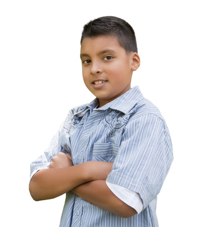 5 10 years old: Handsome Young Hispanic Boy Isolated on a White Background.
